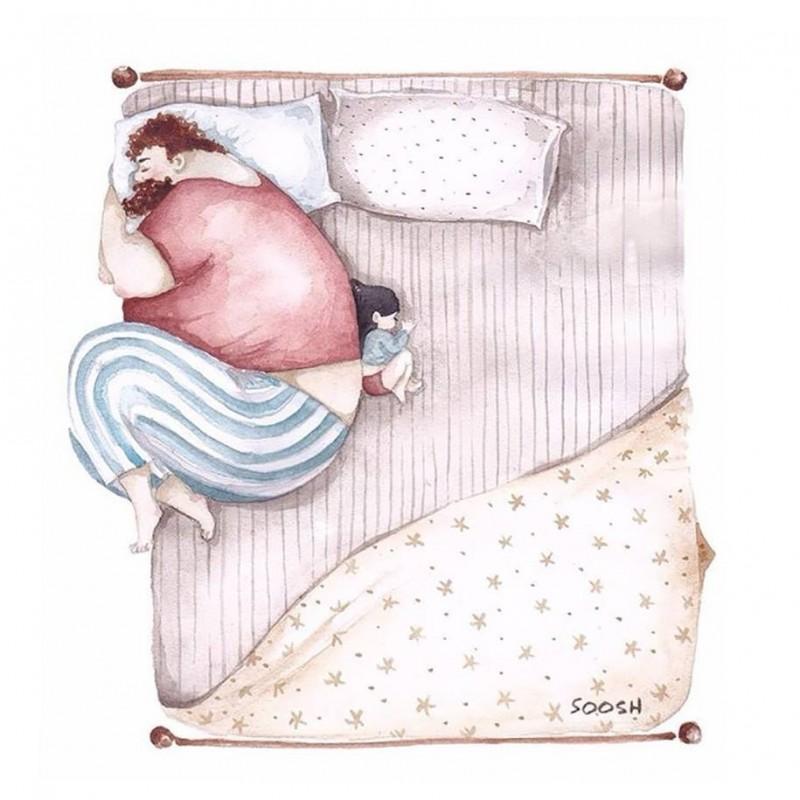 Папа с дочкой картинки рисованные, открытку для