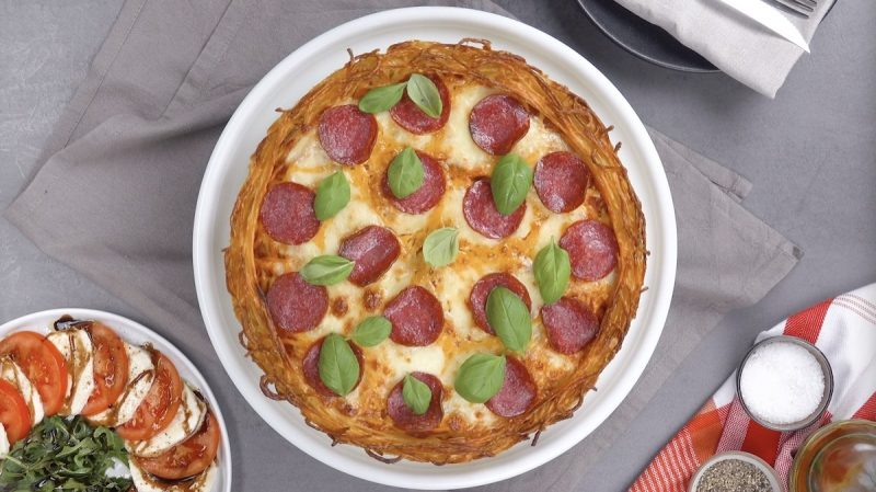 пицца из макарон спагетти