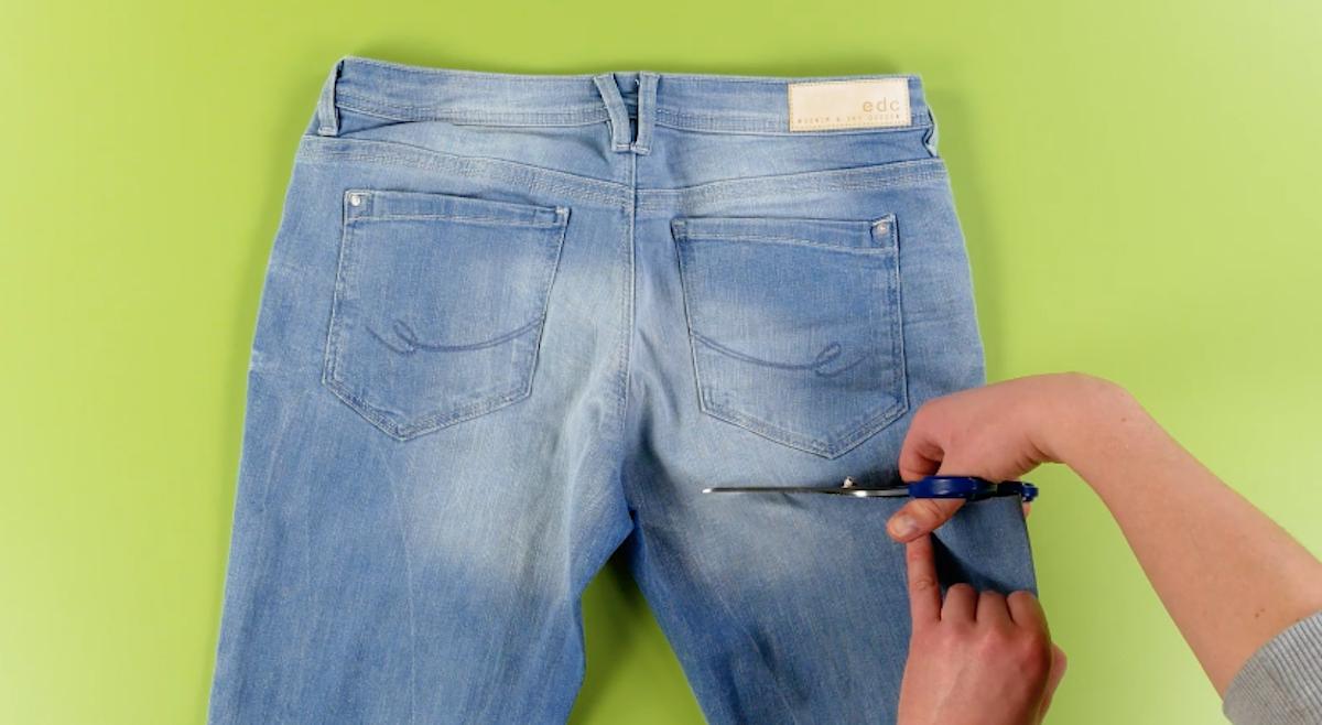 резать джинсы
